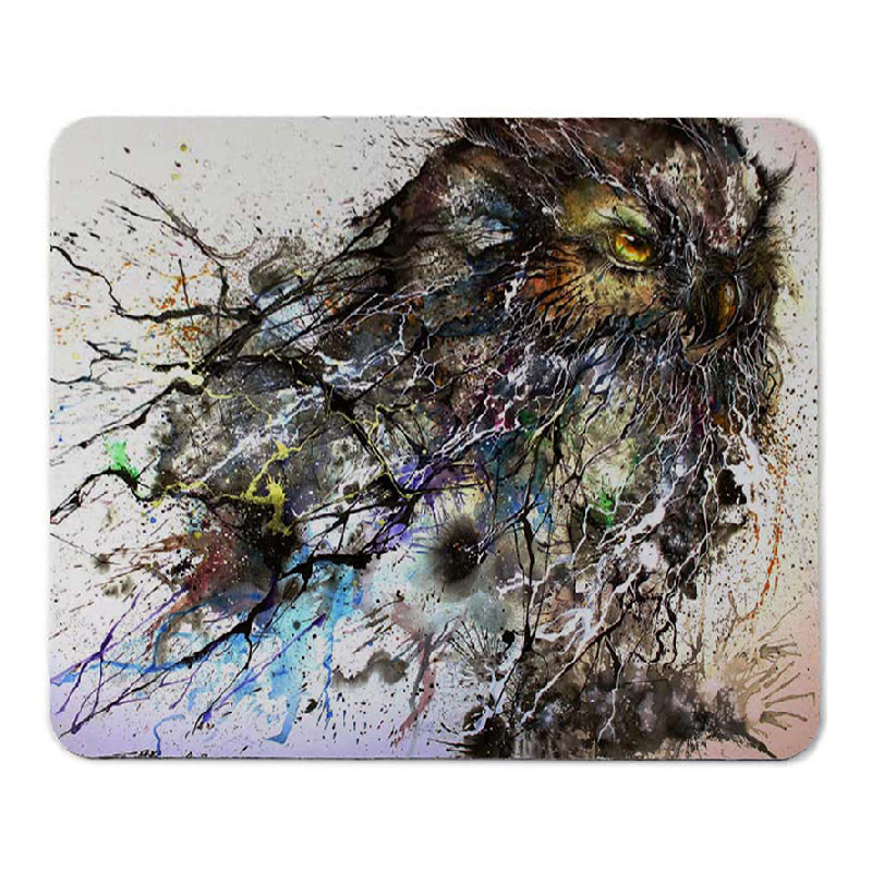 PVC mouse pad, DIY mouse pad printing, owl pattern mouse pad,kal mouse pad factory