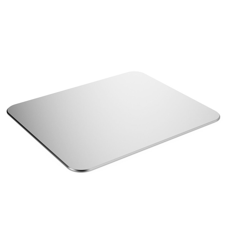 High-end Black and sliver color aluminum office mouse pad non-slip rubber bottom aluminum mouse pad